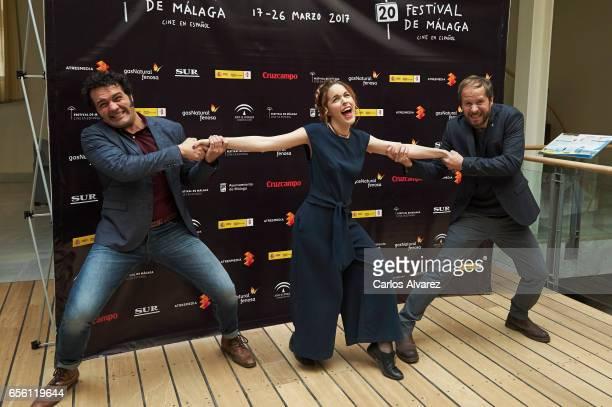Actor Alfonso Sanchez actress Amarna Miller and actor Alberto Lopez attend the 'Contigo No Bicho' photocall on day 5 of the 20th Malaga Film Festival...