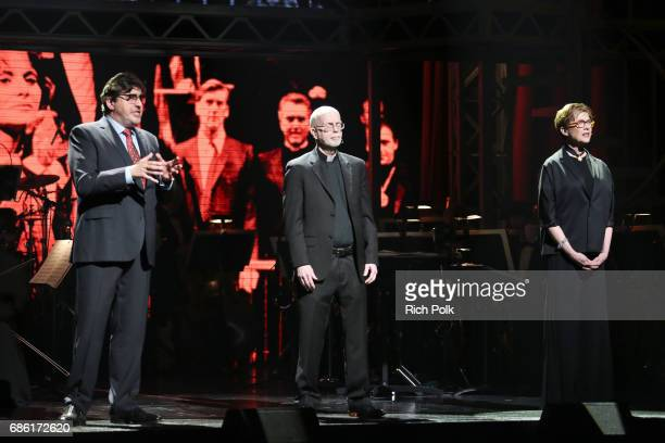 Actor Alfred Molina playwright Bill Cain and actress Annette Bening onstage at the Center Theatre Group 50th Anniversary Celebration at Ahmanson...