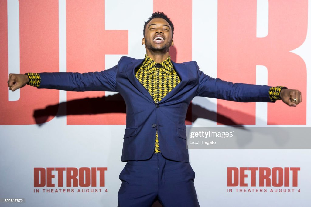 Actor Algee Smith attends the 'Detroit' world premiere at Fox Theatre on July 25, 2017 in Detroit, Michigan.