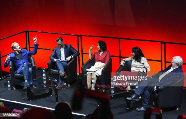 Actor Alistair Petrie actor Tom Hiddleston journalist Samira Ahmed director Susanne Bier and producer Simon Cornwell attend a panel discussion about...