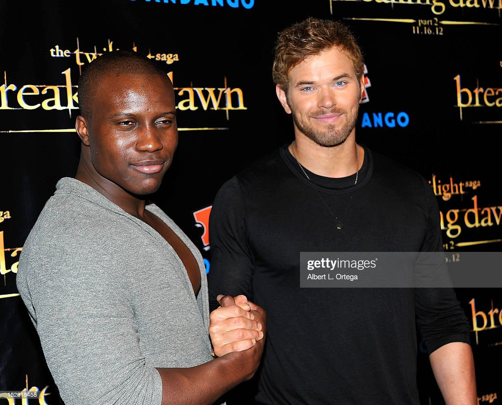 Actor Amadou Ly and actor <a gi-track='captionPersonalityLinkClicked' href=/galleries/search?phrase=Kellan+Lutz&family=editorial&specificpeople=683287 ng-click='$event.stopPropagation()'>Kellan Lutz</a> arrive for Summit Entertainment's 'The Twilight Saga: Breaking Dawn - PART 2 VIP - Comic-Con Celebration - Arrivals held at The Hard Rock Hotel on July 11, 2012 in San Diego, California.