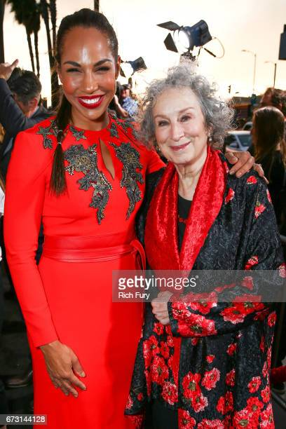 Actor Amanda Brugel and author Margaret Atwood attend the premiere of Hulu's 'The Handmaid's Tale' at ArcLight Cinemas Cinerama Dome on April 25 2017...