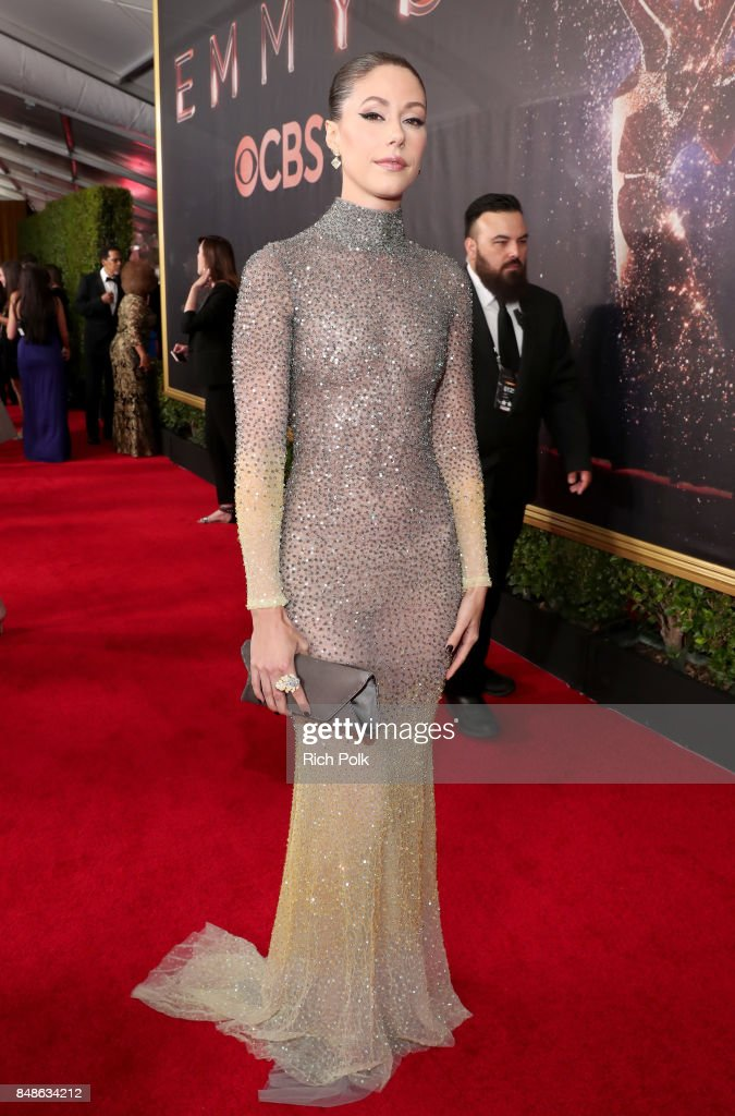 Actor Amanda Crew walks the red carpet during the 69th Annual Primetime Emmy Awards at Microsoft Theater on September 17, 2017 in Los Angeles, California.