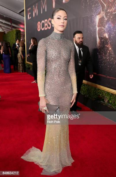 Actor Amanda Crew walks the red carpet during the 69th Annual Primetime Emmy Awards at Microsoft Theater on September 17 2017 in Los Angeles...