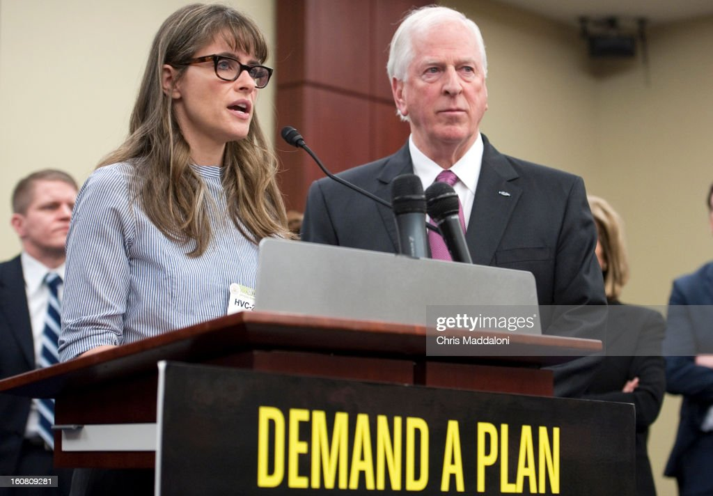 Actor Amanda Peet and Rep. <a gi-track='captionPersonalityLinkClicked' href=/galleries/search?phrase=Mike+Thompson+-+American+Politician&family=editorial&specificpeople=4605016 ng-click='$event.stopPropagation()'>Mike Thompson</a>, D-Calif., speak at a press conference at the U.S. Capitol to call on Congress to act on President Obama's plan to reduce gun violence, including background checks for all gun sales and an assault weapons ban.