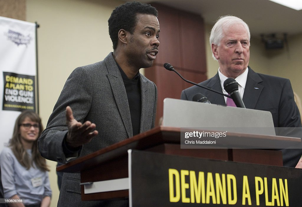 Actor Amanda Peet; comedian Chris Rock; and Rep. Mike Thompson, D-Calif., speak at a press conference at the U.S. Capitol to call on Congress to act on President Obama's plan to reduce gun violence, including background checks for all gun sales and an assault weapons ban.