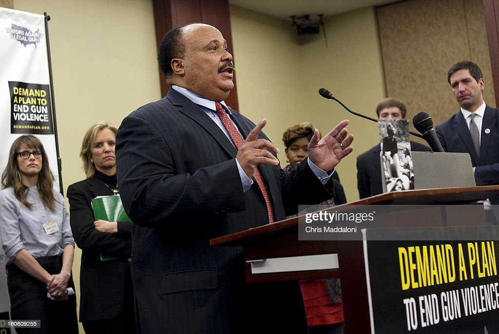 Actor Amanda Peet; human rights activist Kerry Kennedy; and activist Martin Luther King, III speak at a press conference at the U.S. Capitol to call on Congress to act on President Obama's plan to reduce gun violence, including background checks for all gun sales and an assault weapons ban.