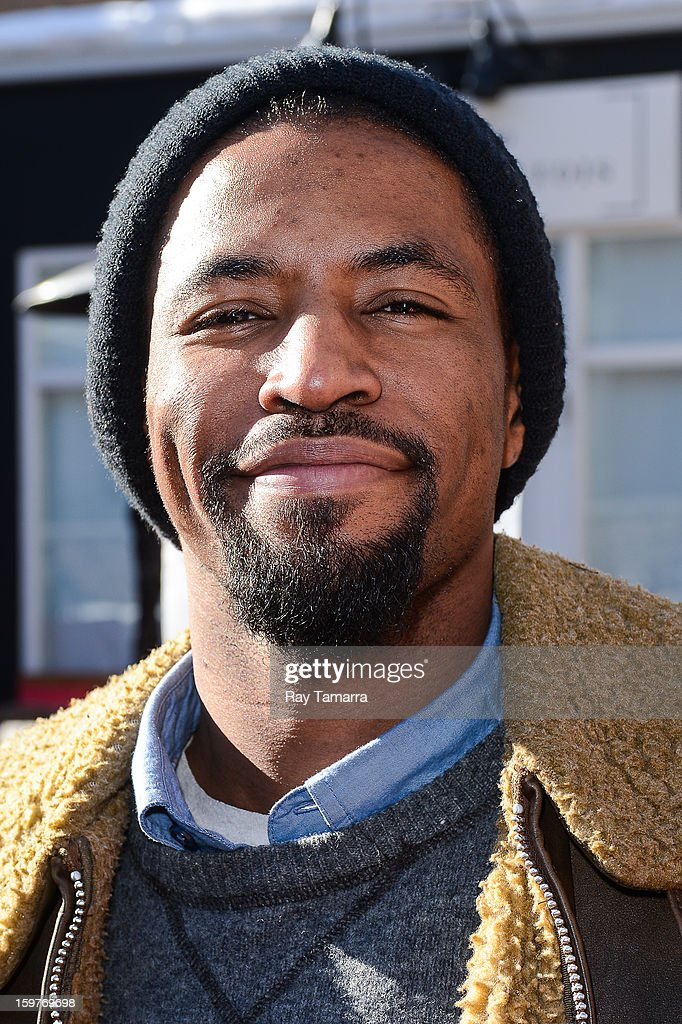 Actor Amari Cheatom enters the Wireimage portrait studio on January 19, 2013 in Park City, Utah.