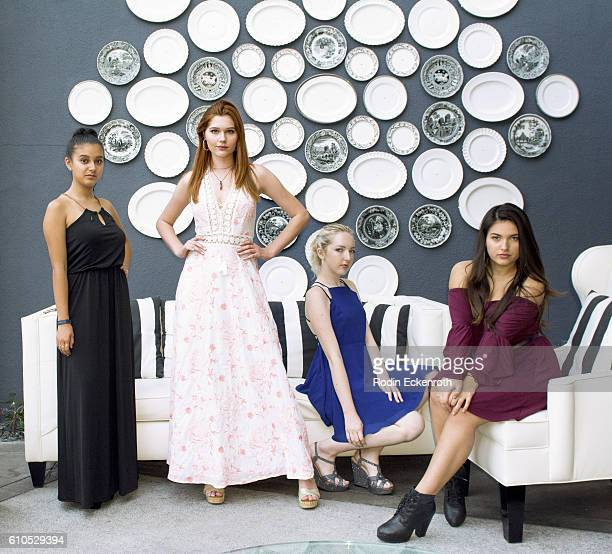 Actor Amber Romero actor/singer/songwriter Serena Laurel singer/songwriter Aly Ashford and musician Katrina Stuart pose for portrait at Serena...