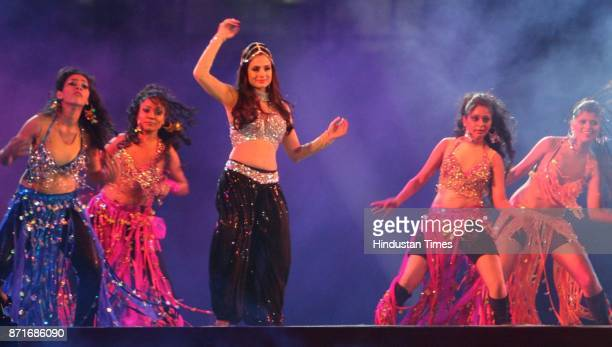 Actor Amisha Patel performs during the inaugural function of the 34th National Games at Birsa Munda Athletic stadium in Ranchi