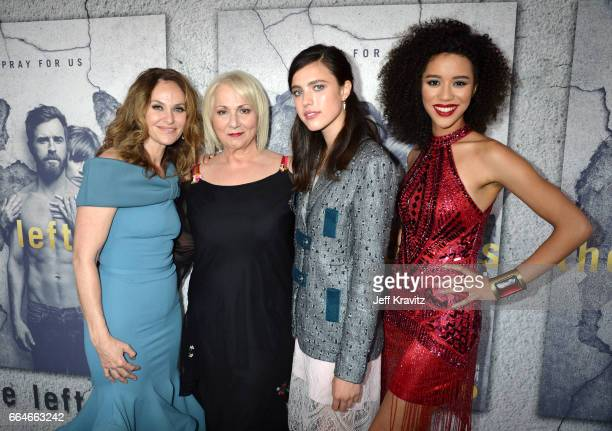 Actor Amy Brenneman Director Mimi Leder actor Sarah Margaret Qualley and actor Jasmin Savoy Brown attend HBO's 'The Leftovers' season 3 premiere and...