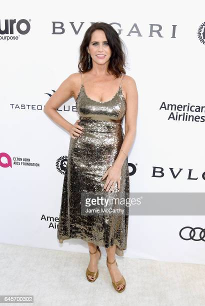 Actor Amy Landecker attends the 25th Annual Elton John AIDS Foundation's Academy Awards Viewing Party at The City of West Hollywood Park on February...
