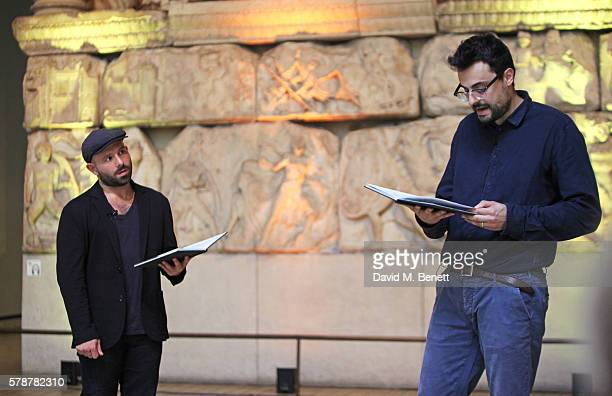 Actor Anatol Yusef and Gabriele Tinti read 'Poets Warriors' by Gabriele Tinti at The British Museum on July 22 2016 in London England