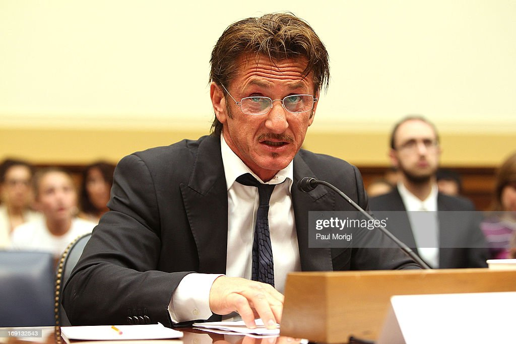 Actor and activist Sean Penn testifies at the Advocating for American Jacob Ostreicher's Freedom after Two Years in Bolivian Detention hearing at the...
