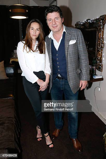 Actor and autor of the drama Philippe Lellouche with his wife actress of the drama Vanessa Demouy pose after the 'L'appel de Londres' theatrical...