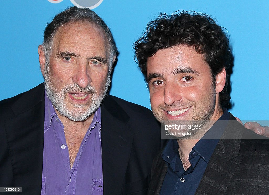 Actor and cast member <a gi-track='captionPersonalityLinkClicked' href=/galleries/search?phrase=Judd+Hirsch&family=editorial&specificpeople=228101 ng-click='$event.stopPropagation()'>Judd Hirsch</a> (L) poses with actor <a gi-track='captionPersonalityLinkClicked' href=/galleries/search?phrase=David+Krumholtz&family=editorial&specificpeople=220284 ng-click='$event.stopPropagation()'>David Krumholtz</a> at the opening night of 'Freud's Last Session' at The Broad Stage at the Santa Monica College Performing Arts Center on January 16, 2013 in Santa Monica, California.
