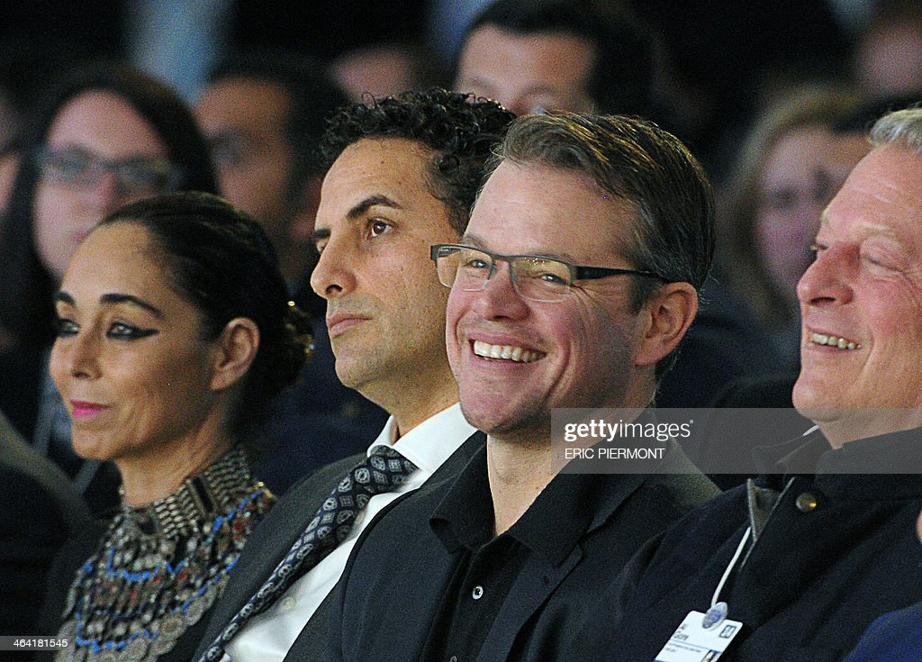 US actor and cofounder of Waterorg Matt Damon flanked other winners IranianAmerican artist Shirin Neshat and Peruvian tenor Juan Diego Florez founder...