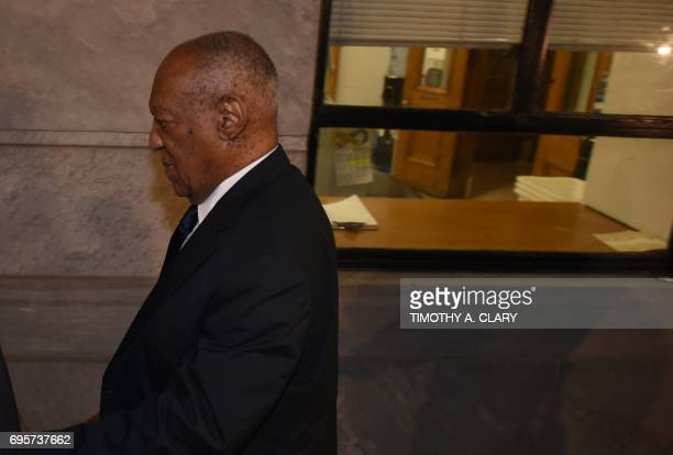 US actor and comedian Bill Cosby leaves the courthouse after the second day of jury deliberations in his sexual assault trial at the Montgomery...