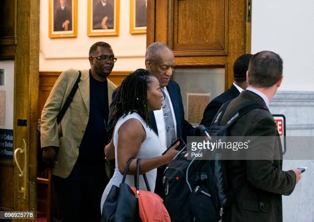 Actor and comedian Bill Cosby leaves the courtroom after the judge declared a mistrial at the Montgomery County Courthouse on June 17 2017 in...