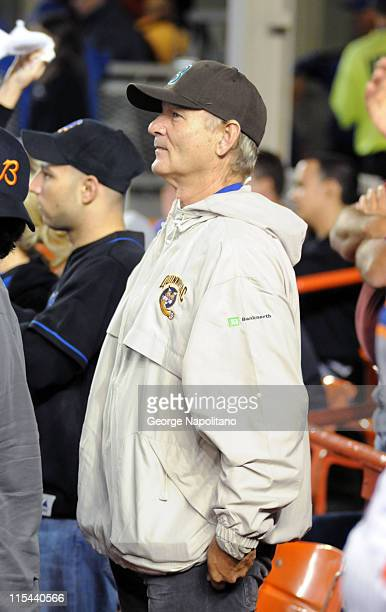 Actor and comedian Bill Murray attends the Chicago Cubs vs the New York Mets baseball game on September 22 2008 at Shea Stadium in Flushing New York