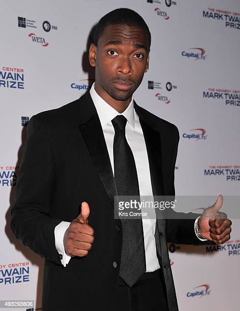 Actor and comedian Jay Pharoah poses on the red carpet during the 18th Annual Mark Twain Prize For Humor honoring Eddie Murphy at The John F Kennedy...