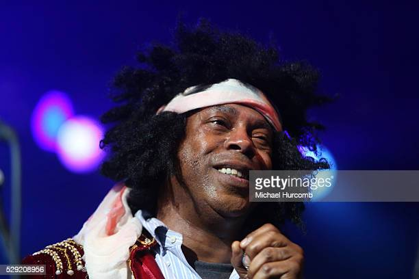 Actor and comedian Michael Winslow performs as Jimi Hendrix at the Rock 'n Soul Dance Party Superjam at the 2013 Bonnaroo Music Festival