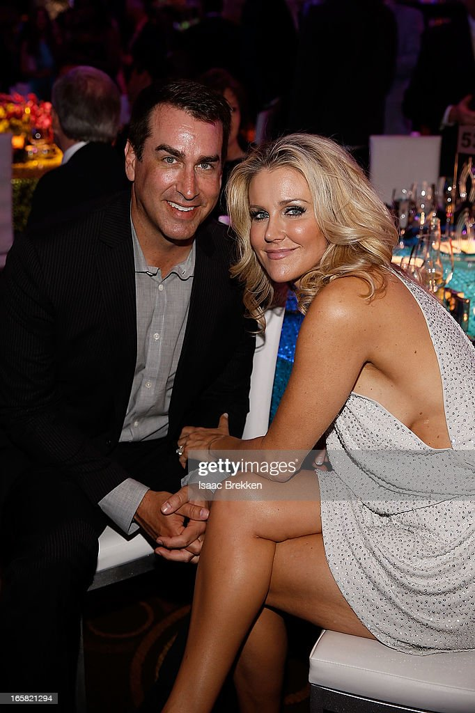 Actor and comedian <a gi-track='captionPersonalityLinkClicked' href=/galleries/search?phrase=Rob+Riggle&family=editorial&specificpeople=2789494 ng-click='$event.stopPropagation()'>Rob Riggle</a> (L) speaks with a guest during the 12th Annual Michael Jordan Celebrity Invitational Gala At ARIA Resort & Casino on April 5, 2013 in Las Vegas, Nevada.