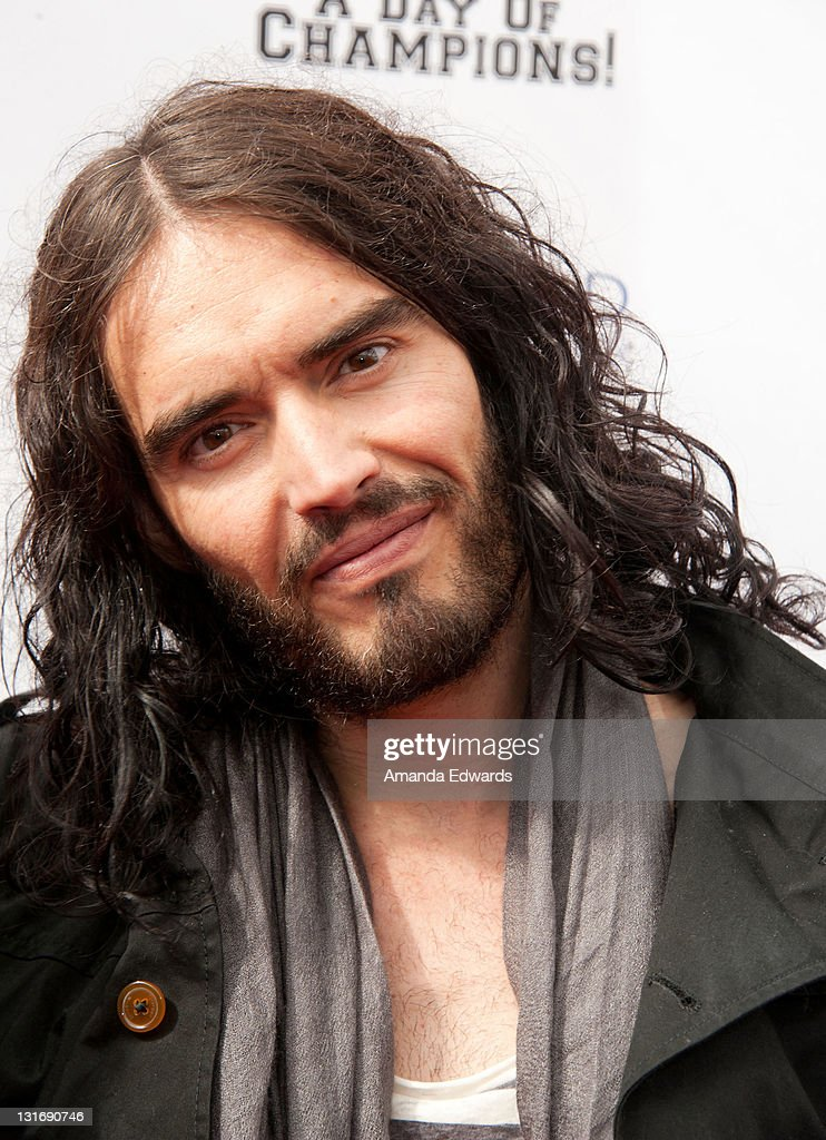 Actor and comedian <a gi-track='captionPersonalityLinkClicked' href=/galleries/search?phrase=Russell+Brand&family=editorial&specificpeople=536593 ng-click='$event.stopPropagation()'>Russell Brand</a> arrives at the Yahoo! Sports Presents A Day Of Champions event at the Sports Museum of Los Angeles on November 6, 2011 in Los Angeles, California.
