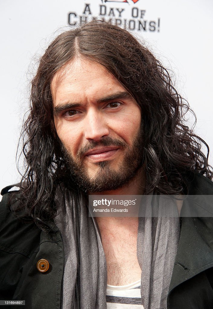 Actor and comedian <a gi-track='captionPersonalityLinkClicked' href=/galleries/search?phrase=Russell+Brand&family=editorial&specificpeople=536593 ng-click='$event.stopPropagation()'>Russell Brand</a> arrives the Yahoo! Sports Presents A Day Of Champions event at the Sports Museum of Los Angeles on November 6, 2011 in Los Angeles, California.