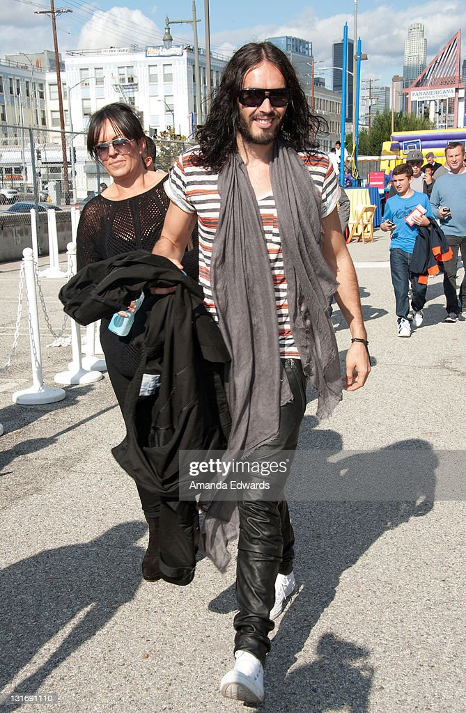 Actor and comedian <a gi-track='captionPersonalityLinkClicked' href=/galleries/search?phrase=Russell+Brand&family=editorial&specificpeople=536593 ng-click='$event.stopPropagation()'>Russell Brand</a> attends the Yahoo! Sports Presents A Day Of Champions event at the Sports Museum of Los Angeles on November 6, 2011 in Los Angeles, California.