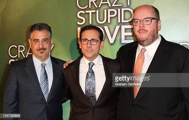 Actor and comedian Steve Carell arrives with Glenn Ficarra and John Requa at the premiere of 'Crazy Stupid Love' at Rivoli Cinemas on September 12...