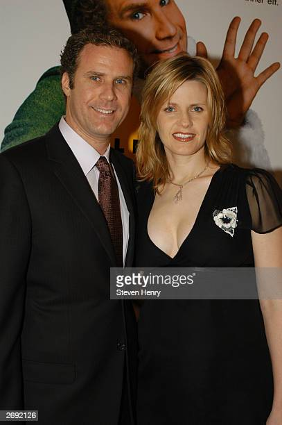 Actor and comedian Will Ferrell and his wife Viveca Paulin attend a special screening of Elf to benefit the TJ Martell Foundation November 2 2003 at...