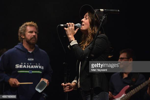 Actor and comedian Will Ferrell and musician Brandi Carlile perform on stage during '90 Minutes With Will Ferrell' benefitting Cancer For College at...