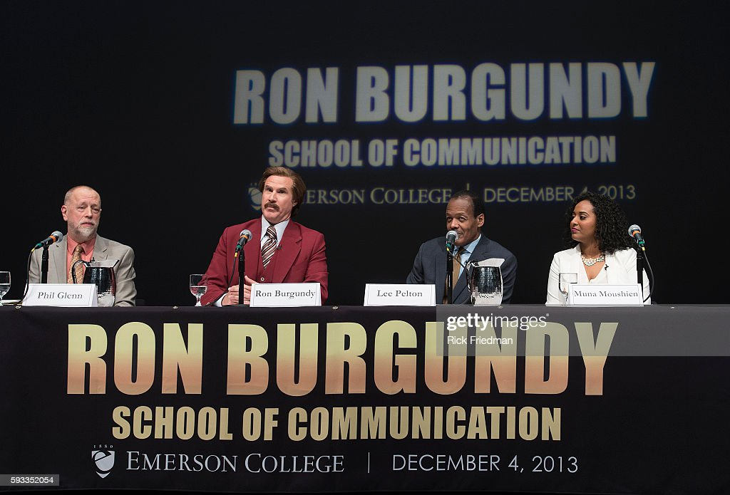 Actor and comedian Will Ferrell as his character Ron Burgundy from the Anchorman movies at Emerson College in Boston MA on December 4 2013 In honor...