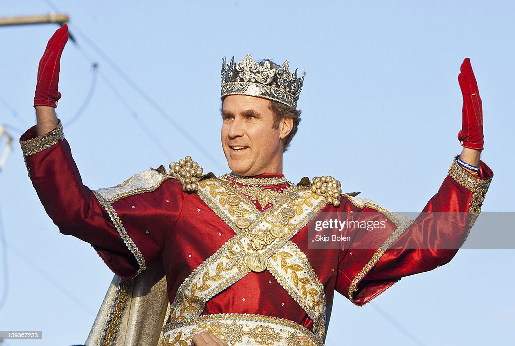 Actor and comedian Will Ferrell greets fans as he reigns as King of Bacchus in the 2012 Krewe of Bacchus Parade on February 19, 2012 in New Orleans, Louisiana.