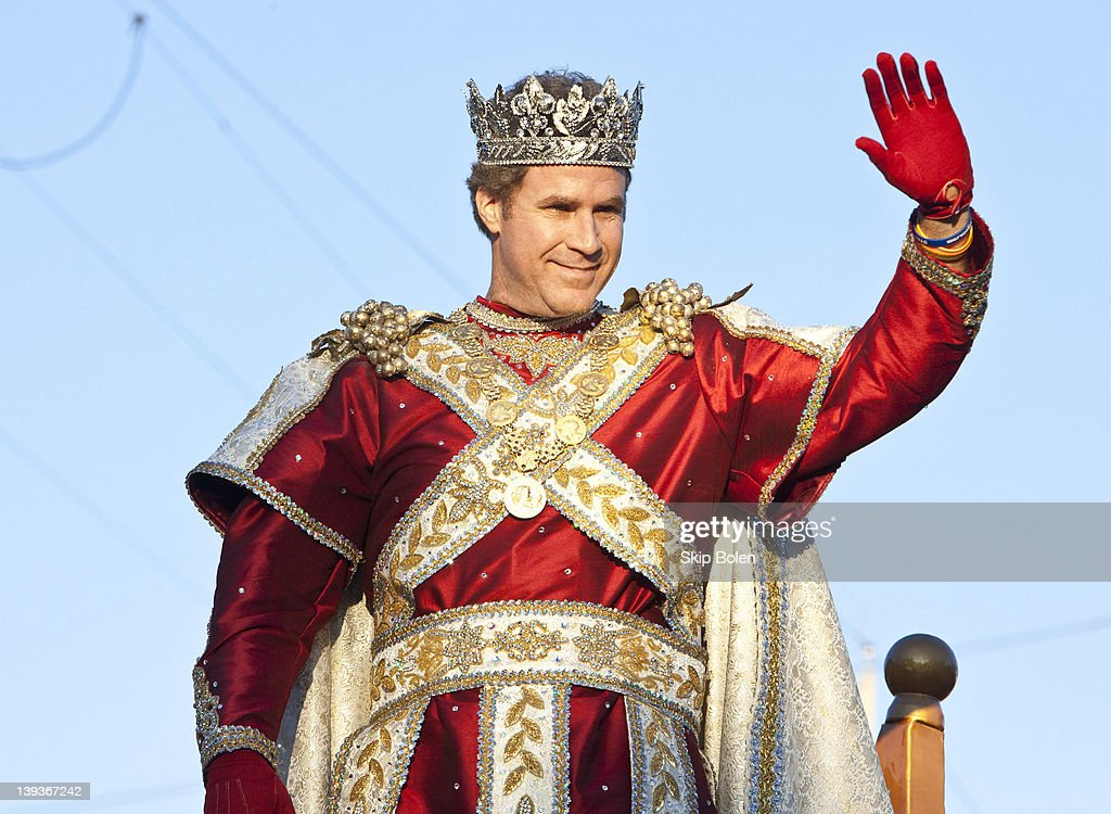 Actor and comedian <a gi-track='captionPersonalityLinkClicked' href=/galleries/search?phrase=Will+Ferrell&family=editorial&specificpeople=171995 ng-click='$event.stopPropagation()'>Will Ferrell</a> greets fans as he reigns as King of Bacchus in the 2012 Krewe of Bacchus Parade on February 19, 2012 in New Orleans, Louisiana.