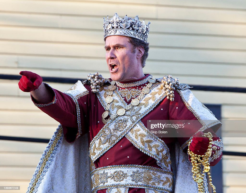 Actor and comedian <a gi-track='captionPersonalityLinkClicked' href=/galleries/search?phrase=Will+Ferrell&family=editorial&specificpeople=171995 ng-click='$event.stopPropagation()'>Will Ferrell</a> tosses beads and doubloons to fans as he reigns as King of Bacchus in the 2012 Krewe of Bacchus Parade on February 19, 2012 in New Orleans, Louisiana.