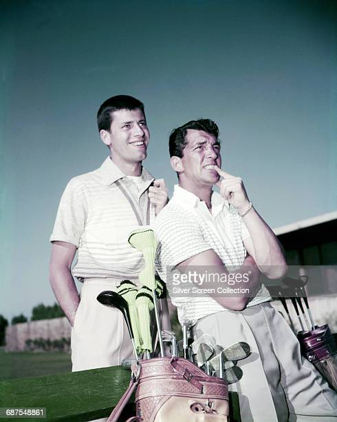 US actor and comedians Jerry Lewis and Dean Martin out playing golf circa 1952