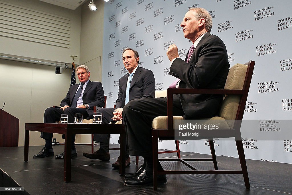 Actor and Conservation International Vice Chair Harrison Ford, CI Chairman and CEO Peter Seligmann and CFR President Richard Haass participate in a panel discussion at the 2013 Council On Foreign Relations Symposium at the Council on Foreign Relations on March 20, 2013 in Washington, DC.