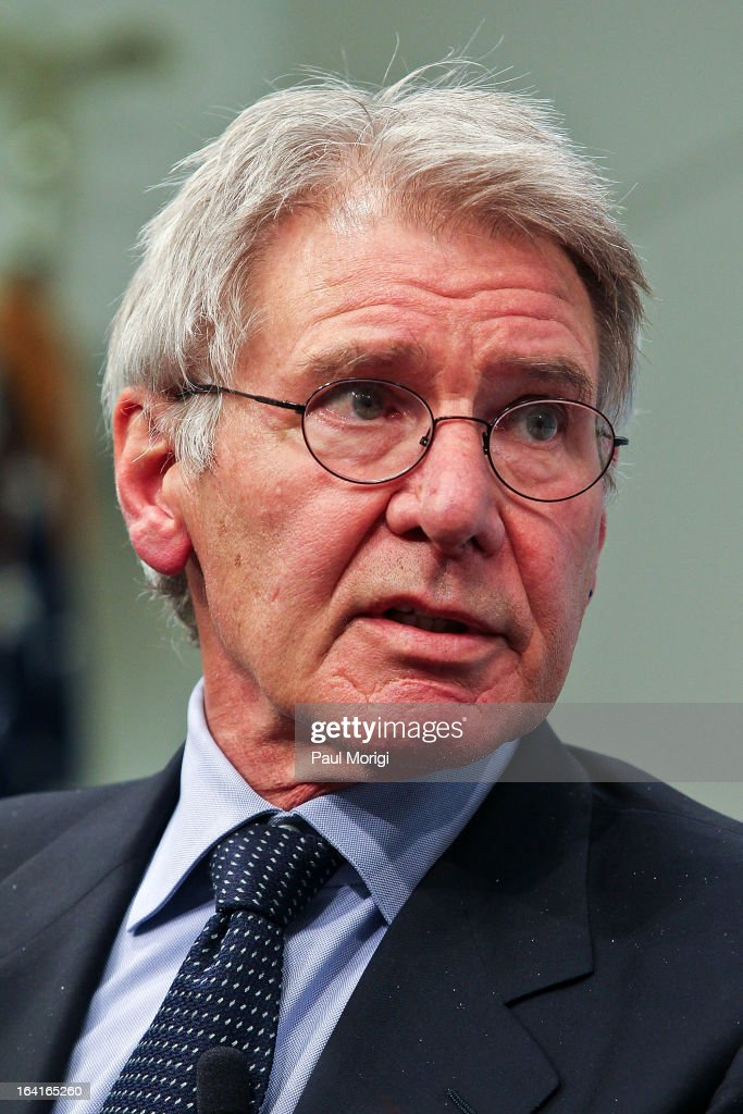 Actor and Conservation International Vice Chair <a gi-track='captionPersonalityLinkClicked' href=/galleries/search?phrase=Harrison+Ford+-+Actor+-+Born+1942&family=editorial&specificpeople=11508906 ng-click='$event.stopPropagation()'>Harrison Ford</a> makes a few remarks during the 2013 Council On Foreign Relations Symposium at the Council on Foreign Relations on March 20, 2013 in Washington, DC.