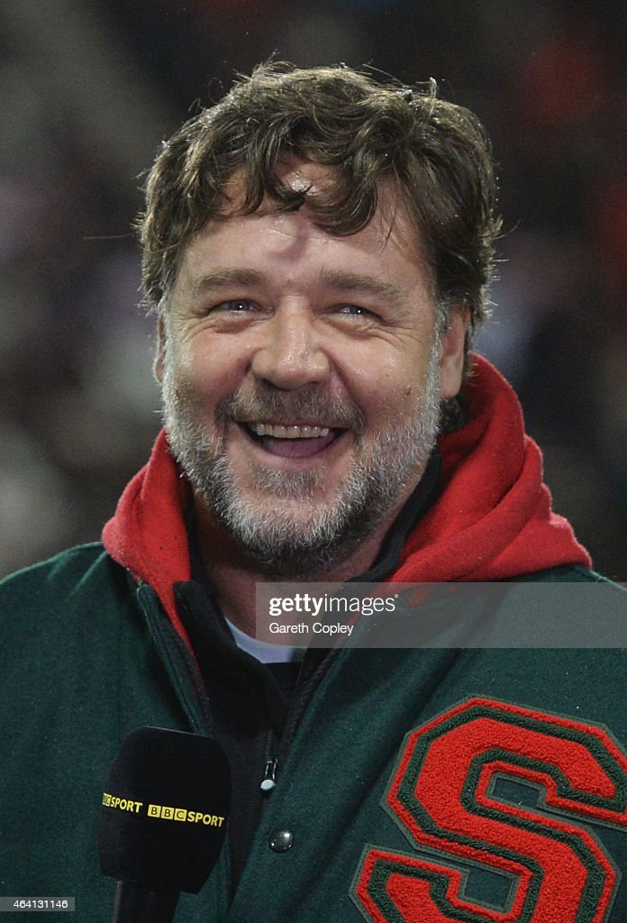 Actor and coowner of South Sydney Rabbitohs Russell Crowe is interviewed by the BBC prior to the World Club Challenge match between St Helens and...