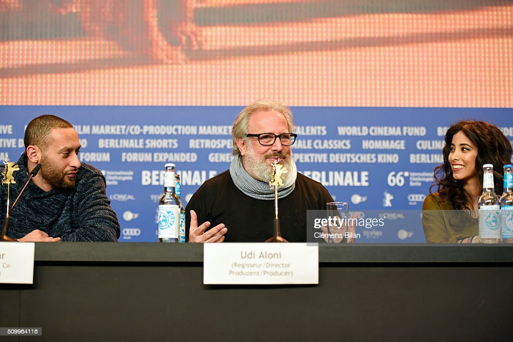Actor and co-writer Tamer Nafar, director Udi Aloni and actress Samar Qupty attend the 'Junction 48' press conference during the 66th Berlinale International Film Festival Berlin at Grand Hyatt Hotel on February 13, 2016 in Berlin, Germany.