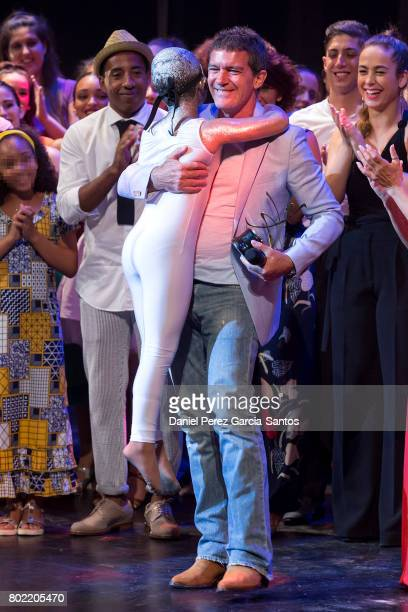 Actor and director Antonio Banderas receives an award from the School of Performing Arts of Malaga at the Teatro Cervantes on June 27 2017 in Malaga...