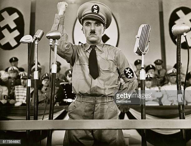 Actor and director Charlie Chaplin plays dictator Adenoid Hynkel in The Great Dictator a satire on Nazi Germany