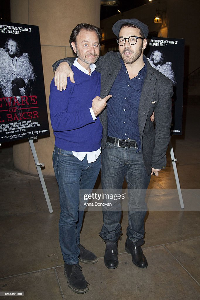 Actor and director Fisher Stevens and actor Jeremy Piven attend a special screening of 'Beware Of Mr Baker' at the Egyptian Theatre on January 23...