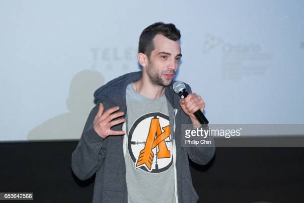 Actor and director Jay Baruchel introduces the film 'Goon Last of the Enforcers' at the Scotiabank Theatre on March 15 2017 in Vancouver Canada