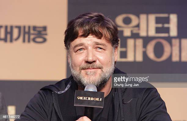 Actor and director Russell Crowe attends the press conference for 'The Water Diviner' at the Ritz Carlton Seoul on January 19 2015 in Seoul South...