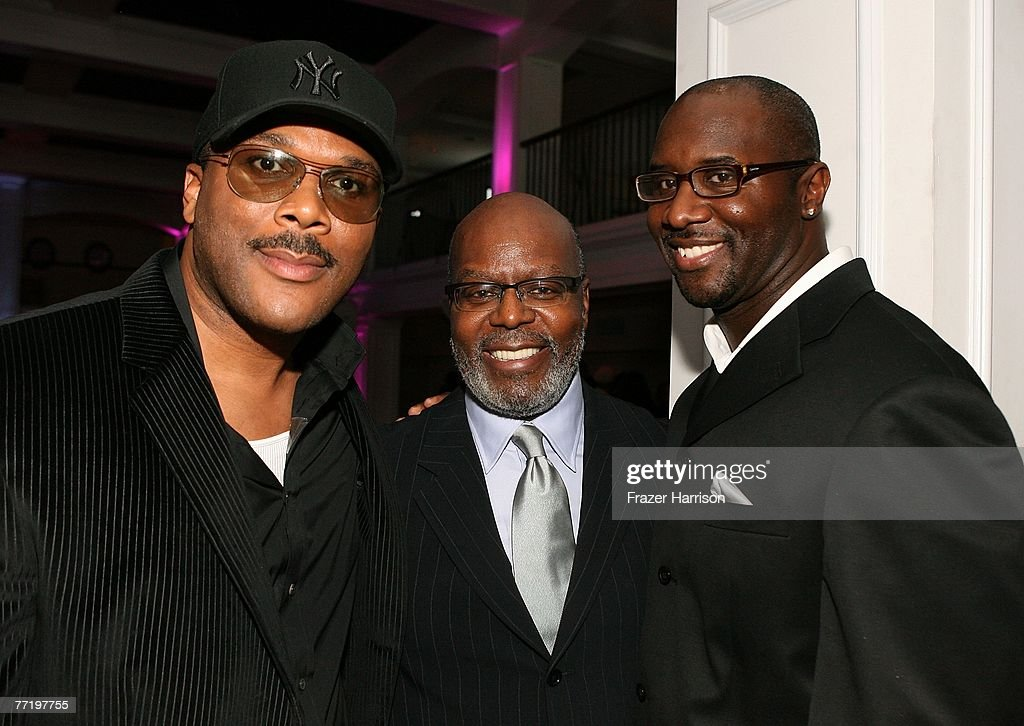 Actor and director Tyler Perry, producers Reuben Cannon and Roger Bobb pose at Lionsgate's Premiere Of 'Why Did I Get Married?' held at The Cinerama Dome, Arclight Hollywood on October 4, 2007 in Los Angeles, California.