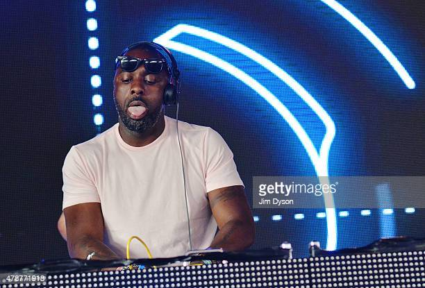 Actor and DJ Idris Elba performs live on the Sonic stage during the second day of Glastonbury Festival at Worthy Farm Pilton on June 27 2015 in...