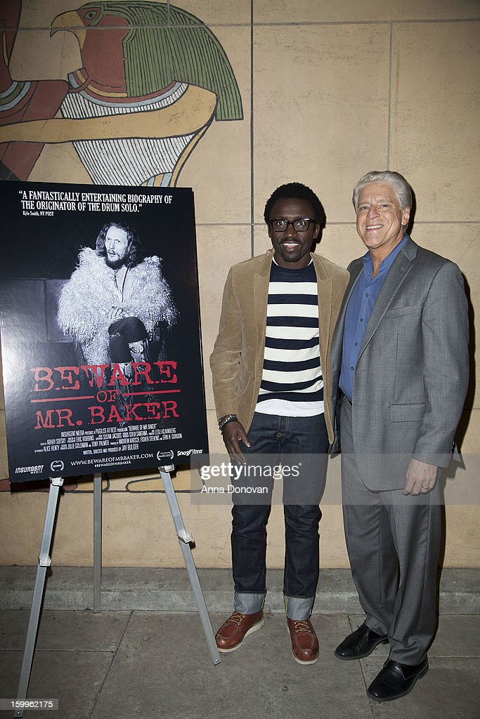 Actor and DJ Tony Okungbowa and Rick Allen attend a special screening of 'Beware Of Mr Baker' at the Egyptian Theatre on January 23 2013 in Hollywood...